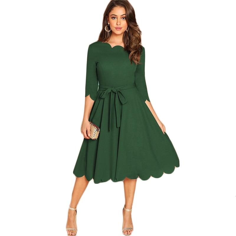 Sheinside Elegant Scallop Edge Bodycon Dress Women Burgundy 3/4 Sleeve Solid Pencil Dresses Woman Party Night Ladies Midi Dress 40