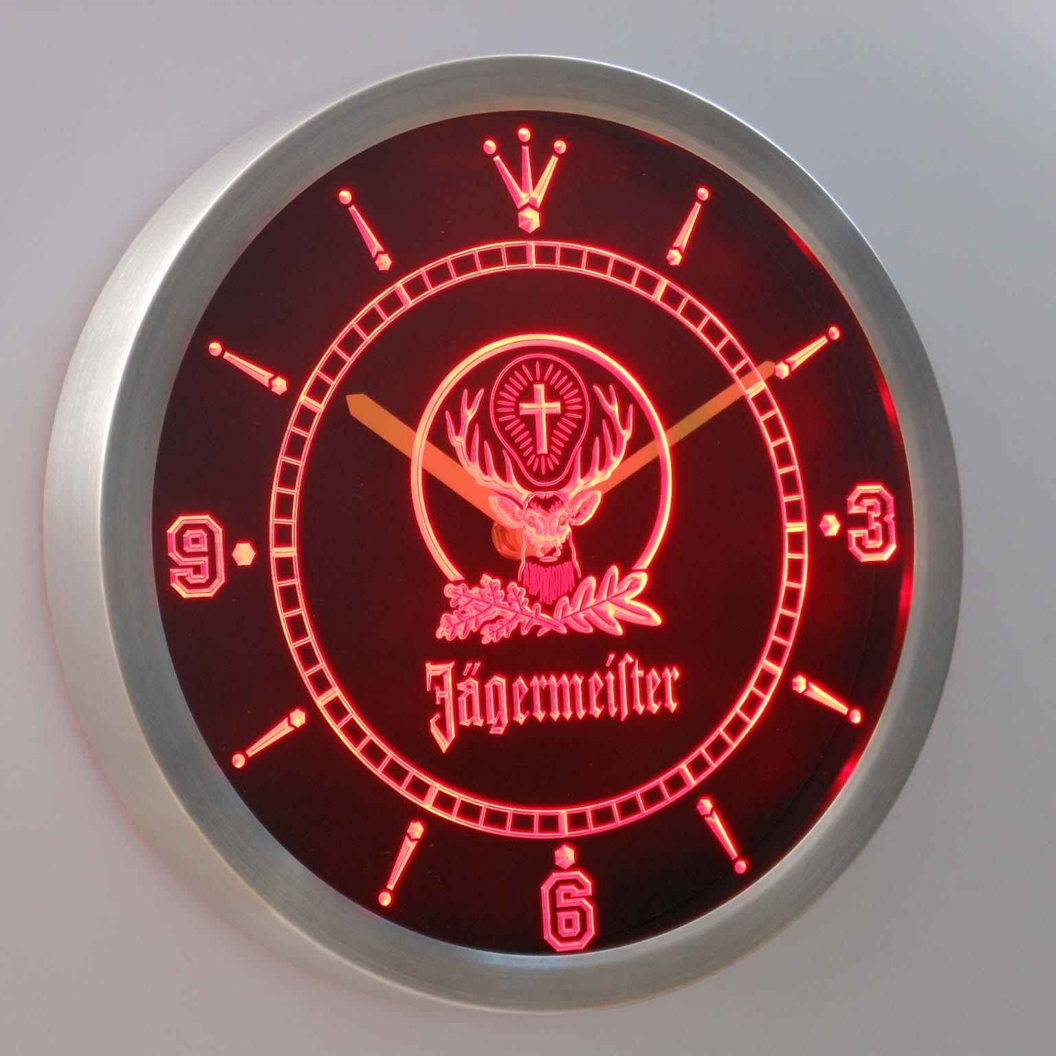 Jägermeister Neon verlichting LED Wandklok 3