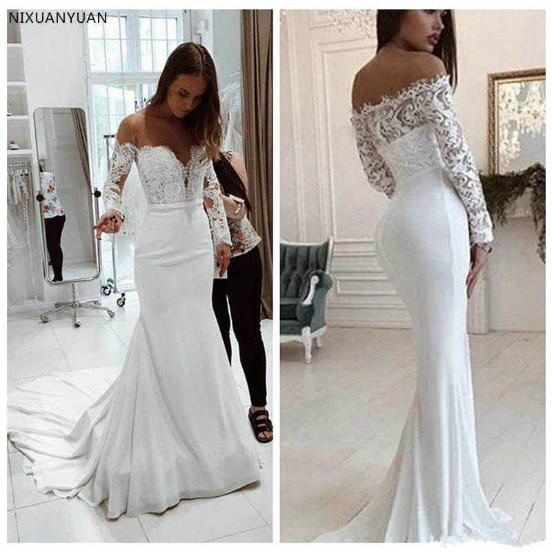 Mermaid Wedding Dresses Sweep Train Applique Lace Crew Sheer Neck Long Sleeve Plus Size Wedding Bridal Gowns Vestido De Novia