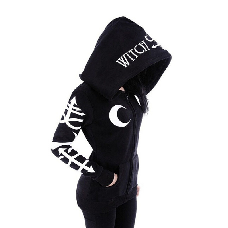 2019 Spring And Autumn New Punk Big Hat Moon Letter Print Black Long Sleeve Sweatshirt Pleasant In After-Taste Women's Clothing