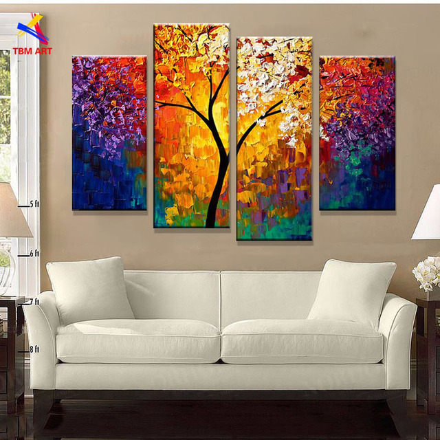 Bright Life Tree Picture Painting Handmade Modern Abstract Oil On Canvas Wall Art Home Decoration