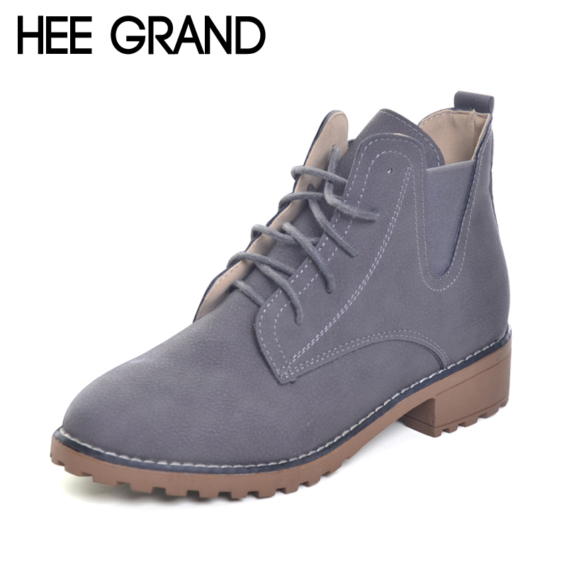 HEE GRAND 2017 New Spring/Autumn Rubber Women Ankle Boots Creepers Platform Casual Shoes Woman Women Flats Shoes XWX5815 phyanic 2017 gladiator sandals gold silver shoes woman summer platform wedges glitters creepers casual women shoes phy3323