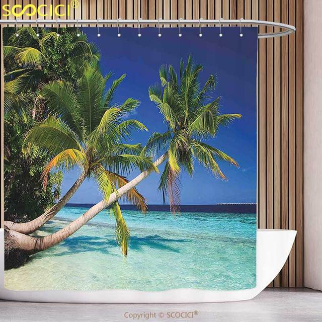 Funky Shower Curtain Tropical Exotic Maldives Beach With Palms Paradise Coast Vacation Scenery Blue Turquoise Fern Green