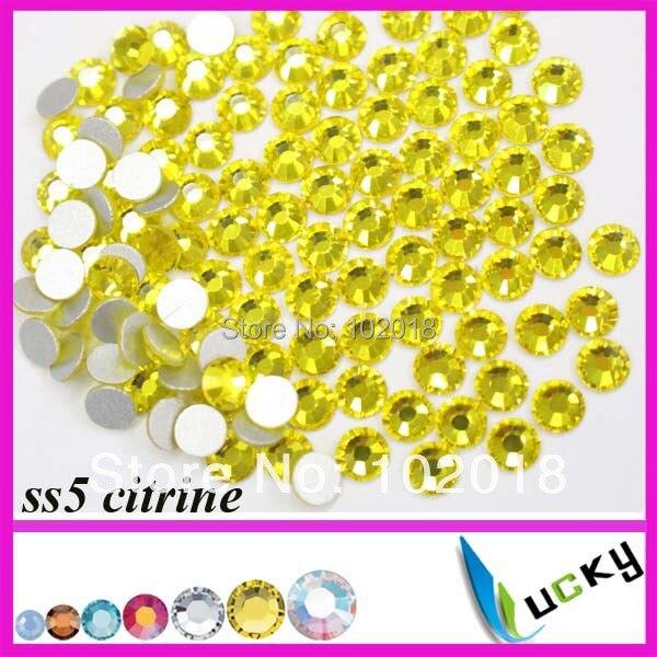 2014 hot sale! ! Free Shipping ss5  1440pcs bag Citrine Color Flatback non  hotfix rhinestone Nail art crystal beads For DIY 6cc0af8ae534