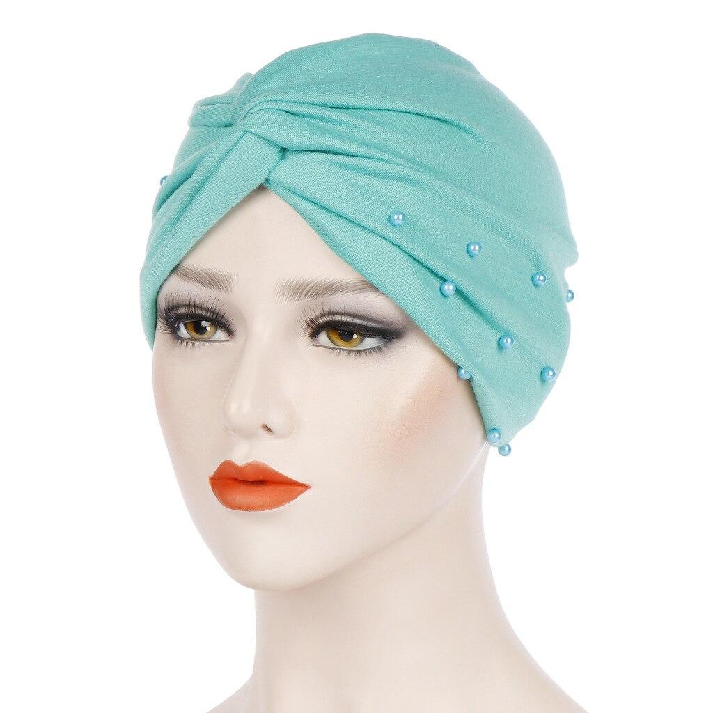 Women Jersey Beading  Muslim Ruffle Cancer Chemo Beanie Scarf Turban Wrap Hijab Scarf  Turban Muslim  Islamic Clothing
