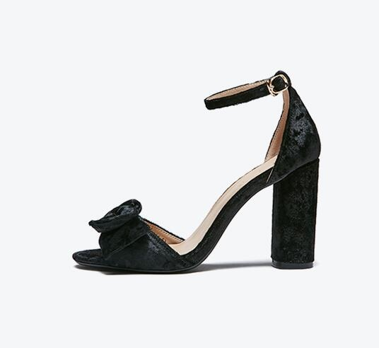 Elegant Women Black Velvet Ankle Buckle Strap Cover Heel Sandals Fashion Butterfly-Knot Decoration High Square Heel Dress Shoes genuine leather women sandals high chunky heel square toe cover heel sheepskin buckle strap butterfly knot elegant women shoes