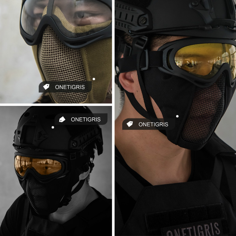 OneTigris Tactical Foldable Half Face Mask Beskyttende Mesh Mask for Airsoft Paintball med justerbar og elastisk beltestropp