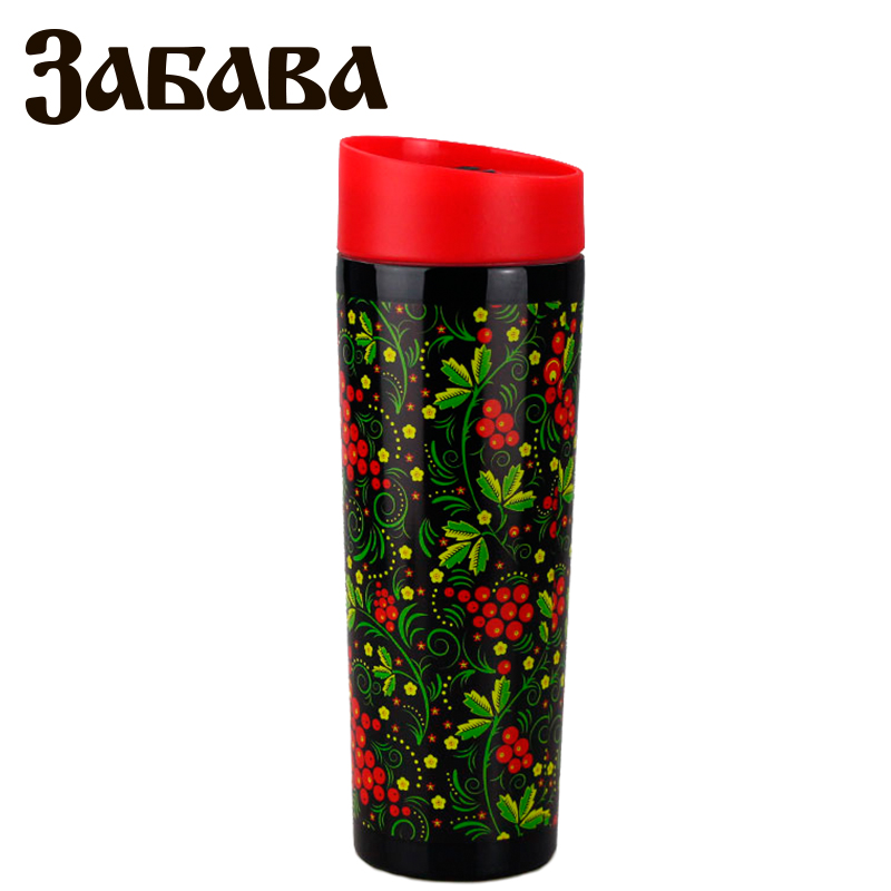 ZABAVA RK-0401M Hot cup 400ml Vacuum Flask Thermose Travel Sports Climb Thermal Pot Insulated Vacuum Bottle Stainless Steel outdoor sports water bottle cup with strap orange 500ml