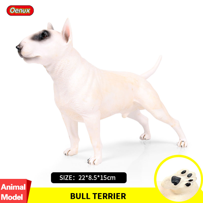 Oenux Classic British Bull Terrier Action Figures Big Pet Dog Model Figurine Collection & Educational Lifelike Cute Toy For Kids 1pcs action figures toy kids toy collection for trumpeter 1 35 scale model 05531 sd kfz 6 5 tonne semi crawler artillery tractor