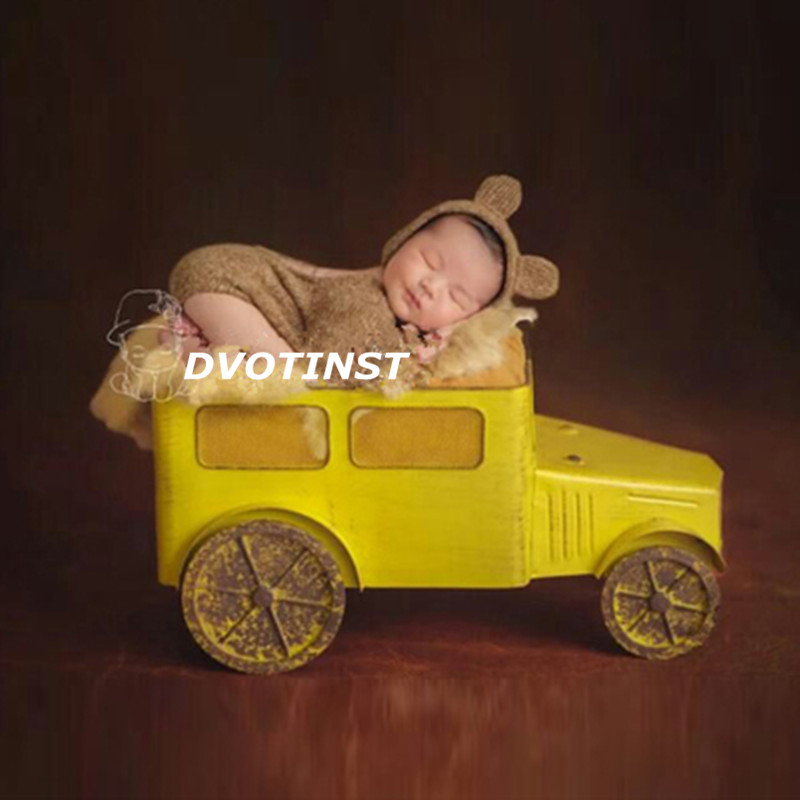 Dvotinst Newborn Baby Photography Props Iron Yellow Car Truck Fotografia Accessory Infant Studio Shooting Photo Prop Shower Gift newborn baby photography props infant knit crochet costume peacock photo prop costume headband hat clothes set baby shower gift