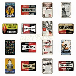 Retro Champion Tin Signs Pop Art Pin up Metal Poster Garage Texas Motor Oil Retro Kraft Decorative Wall Sticker