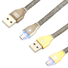 Micro USB Cable Aluminum Case LED micro usb line for Samsung