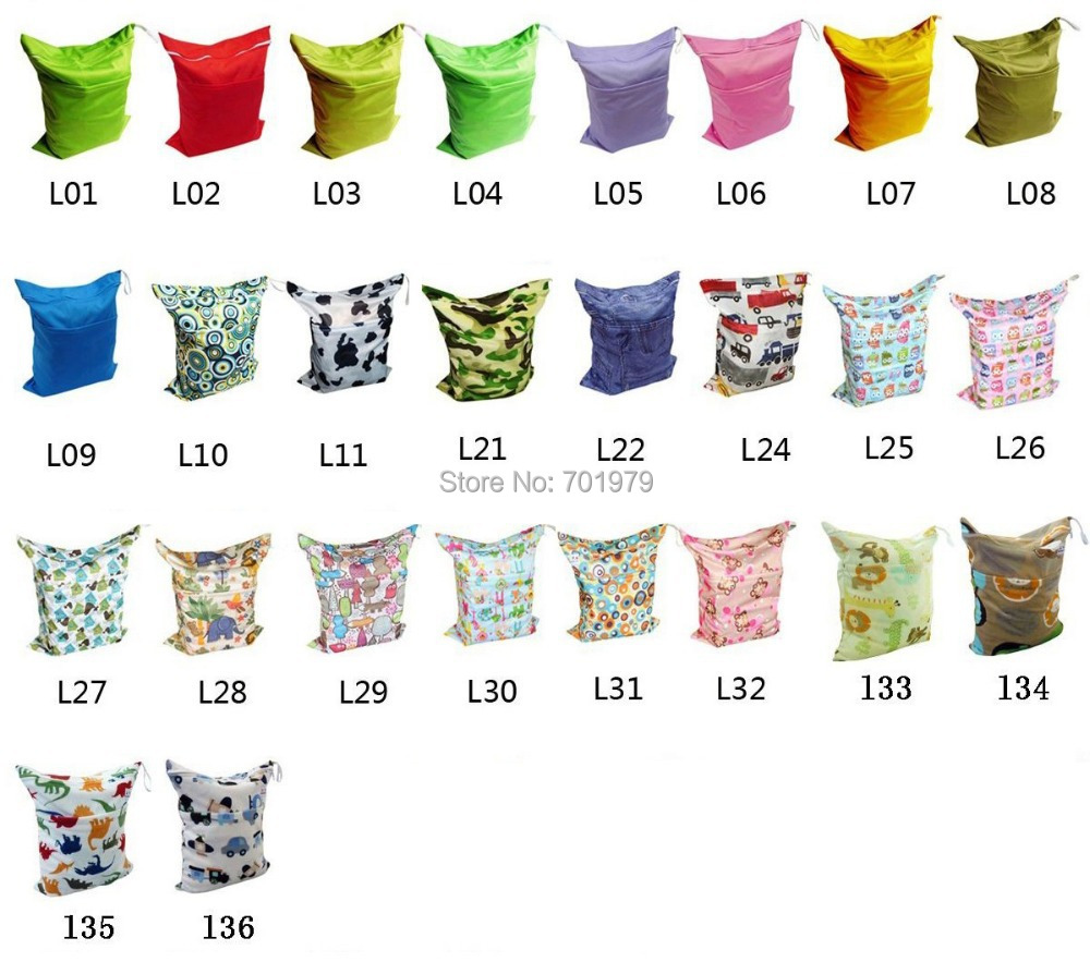 50 pieces lot 2014 ALVA Two pockets Two Zippers Reusable Baby Nappy Bags