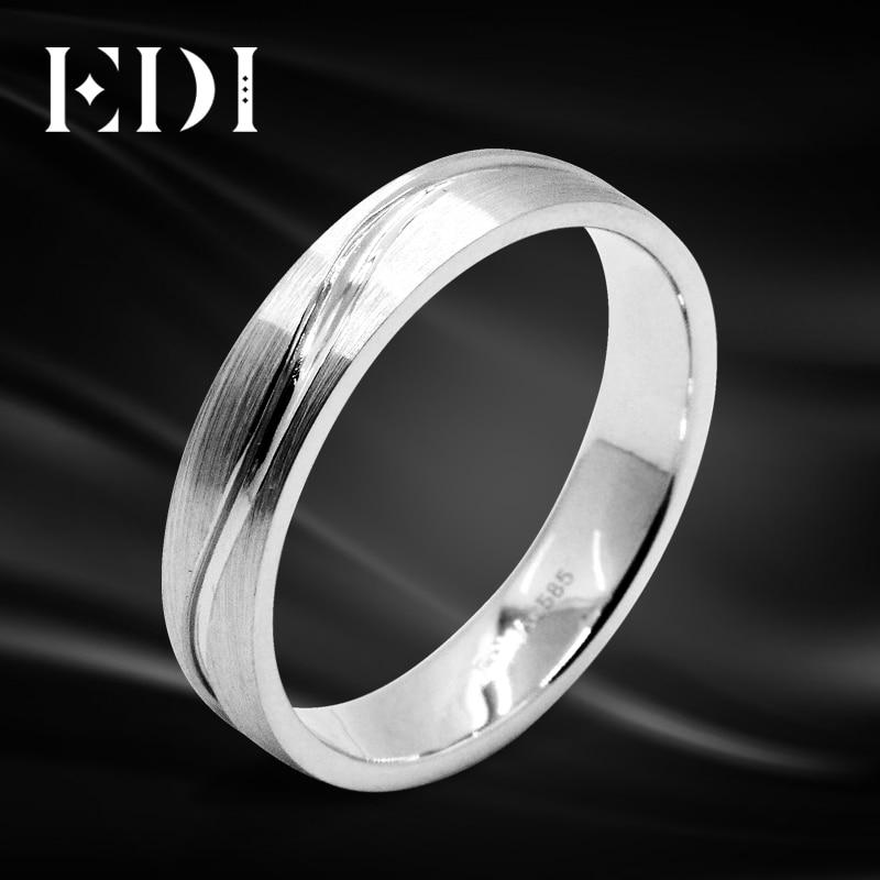 EDI Pure Gold Engagement Ring To Man And Women 14k White Gold Brushed Metal Face Eternal Ring Wedding Band Lovers' Rings декоративные украшения gold man rw 13