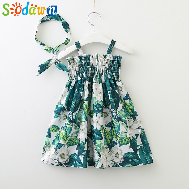 Sodawn 2018 Summer New Strap Dress Girl Clothes Leaves Flower Strap Dress With Hair Hoop Fashion Children Clohting Kids Dress