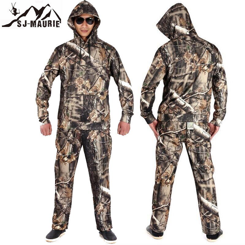 Chasse Ghillie costume hiver Bionic Camouflage chasse vêtements à capuche Camouflage tactique chasse veste + pantalon chasse costume