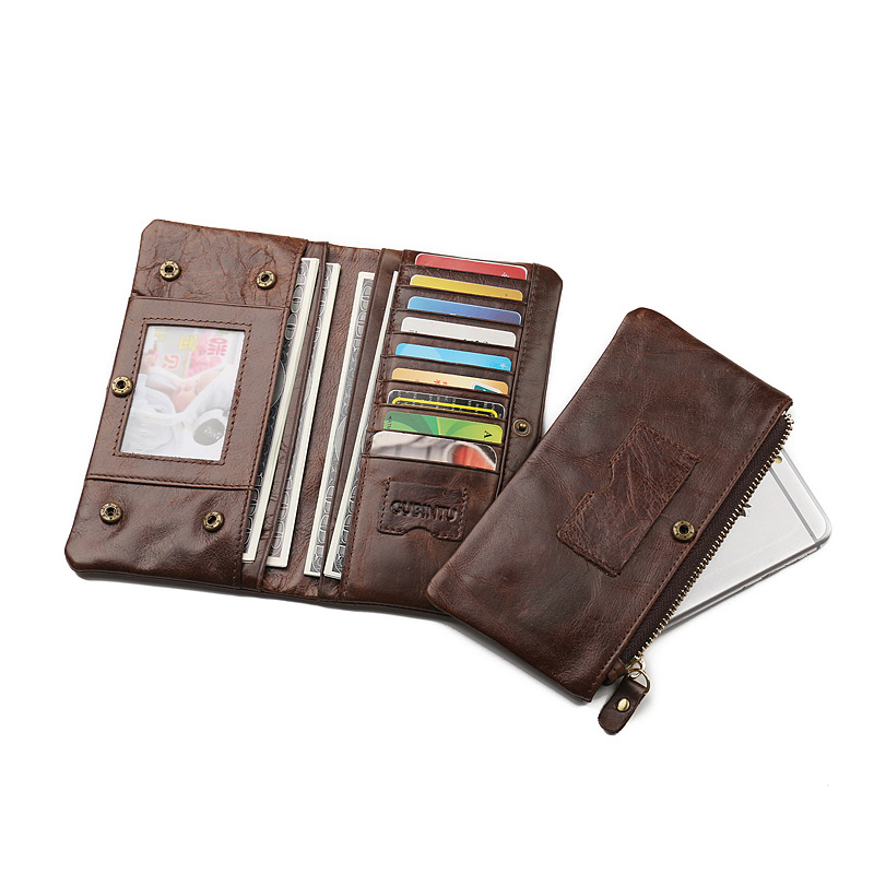 Vintage Gubintu Genuine cow leather wallet Multifunctional men wallet long style men's purse big capacity card wallets JM-01169 genuine cow leather women s wallet long style big capacity tri fold organizer wallets knitting women s purses jm 01289