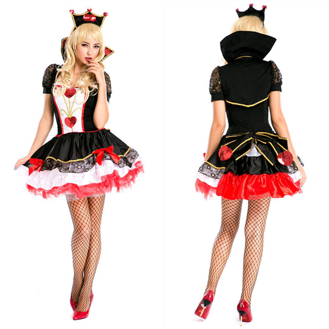 Costumi di halloween per adulti delle donne poker red regina di cuori  costume dress festa di e8fea92fa543