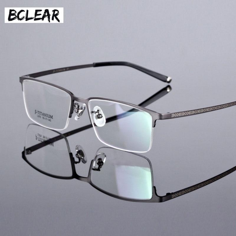 BCLEAR Business hommes luxe titane lunettes demi cadre cadres optiques rétro tendance lunettes de vue haute qualité verre léger