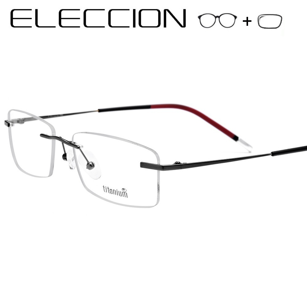 ELECCION Pure Titanium Prescription Glasses Men 2019 New Rimless Eyewear Myopia Eyeglasses Women Optical Frames With Eye Lenses(China)