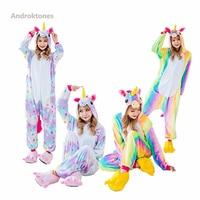 2017 Chirden Cartoon Animal Unicorn Pajamas Flannel Pajamas Kids Onesie Sleepwear Rainbow Colorful Star Pegasus Unicorn