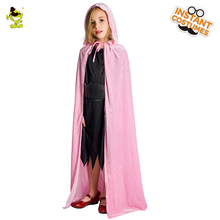 Girls Pink Gothic Hooded Wizard Cape Costume Long Velvet Cloak Robe Cosplay Medieval Witchcraft Pink Cape Costumes