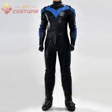 Batman Arkham City Movie Nightwing Jumpsuit Eye Patch Gloves Leggings Halloween Superhero Cosplay Costume For Adult Men Women