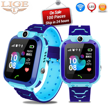 Купить с кэшбэком LIGE New Smart Watch Baby Watch SOS Call Location Finder Display 2G SIM Card  LBS Base Station Position Children's Smart Watch