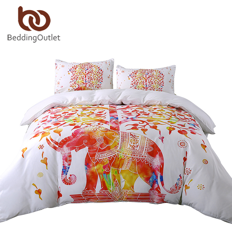 BeddingOutlet White And Red Bedding Set Boho Duvet Cover and Pillowcase Indian Elephant Print Exotic Bedclothes Queen Sizes Hot