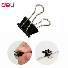 Deli 9546 15mm Clips 12pcs/lot Stainless Steel Metal Portable Clamp Long Tail Clips Money Tickets Clips Stationary DropShipping