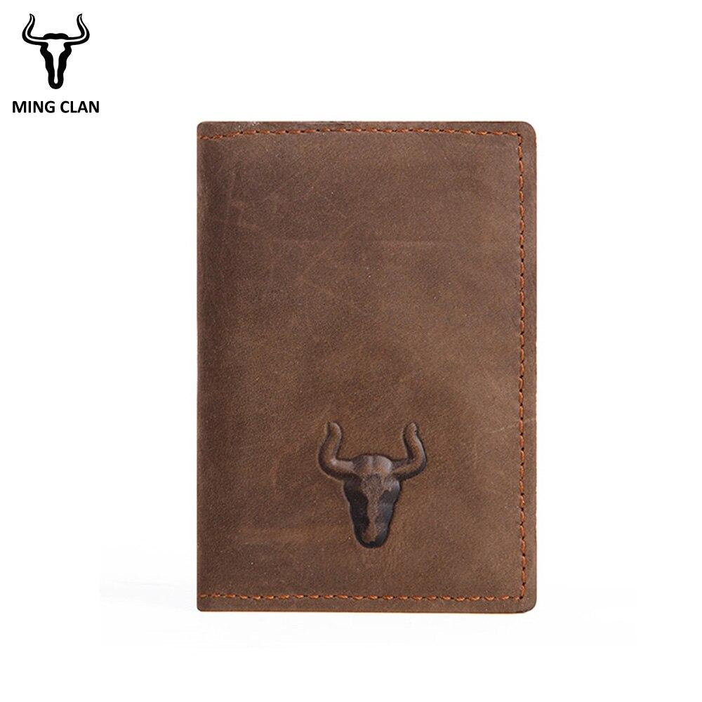 Mingclan Plånbok Crazy Horse Slim Mini Plånbok Genuin Läder - Plånböcker - Foto 2