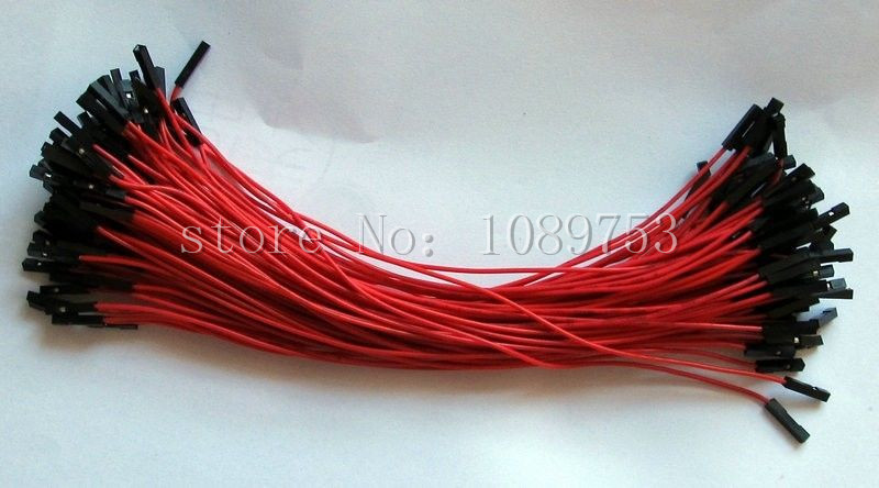 Red 100pcs 1p-1p AWG 26AWG 2.54mm Dupont Jumper Wire 20cm Cable Line Pin Connector dupont line 1p 1p 40 pack 20cm length