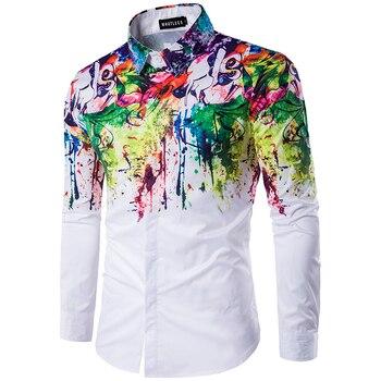 2019 men print shirts Urban fashion shirt men's slim shirt ink splash paint pattern self-cultivation leisure long sleeve Shirt