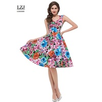 LZJ Fashion Small V Neck Sleeveless Printing Professional Women Work Dress 2017 New Ladies Summer Clothing