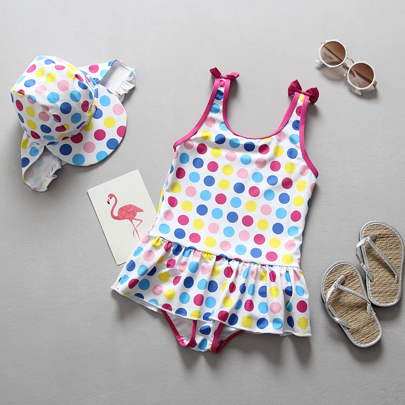 Infant Baby Swimwear Toddlers Girls Swimsuits Polka Dot Bowtie Princess Skirt Swimsuit with UV Sunscreen Cap Hat Bathing Suits