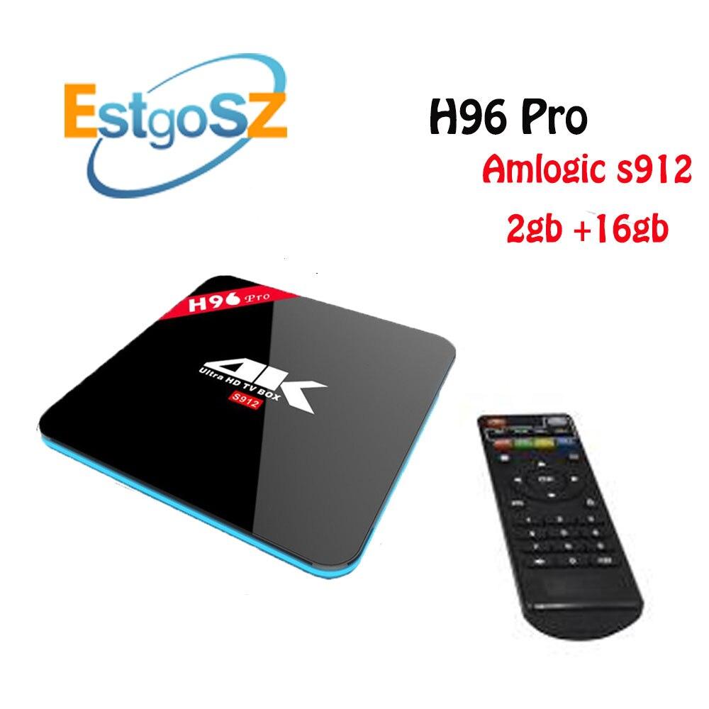 Débloqué jailbreaké H96 pro 3G + 16G Android 6.0 TV box Amlogic S912 Octa Core 4 K double Wifi Bluetooth 4.1 lecteur multimédia en Streaming