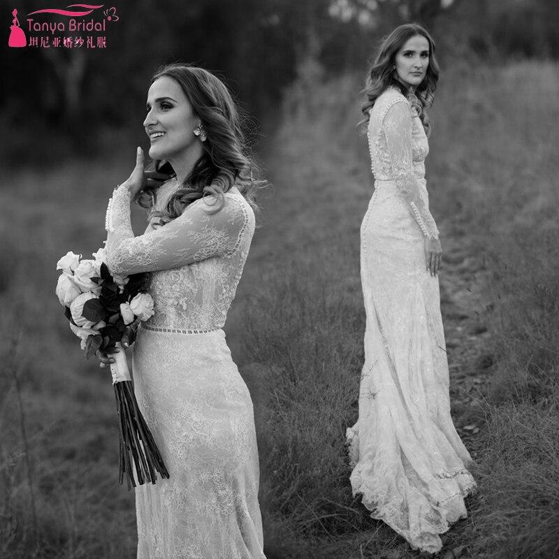 Robe De Soriee New Simple Wedding Dress Full Sleeve Lace: Long Sleeve Lace Wedding Dresses 2019 Elegance Marries