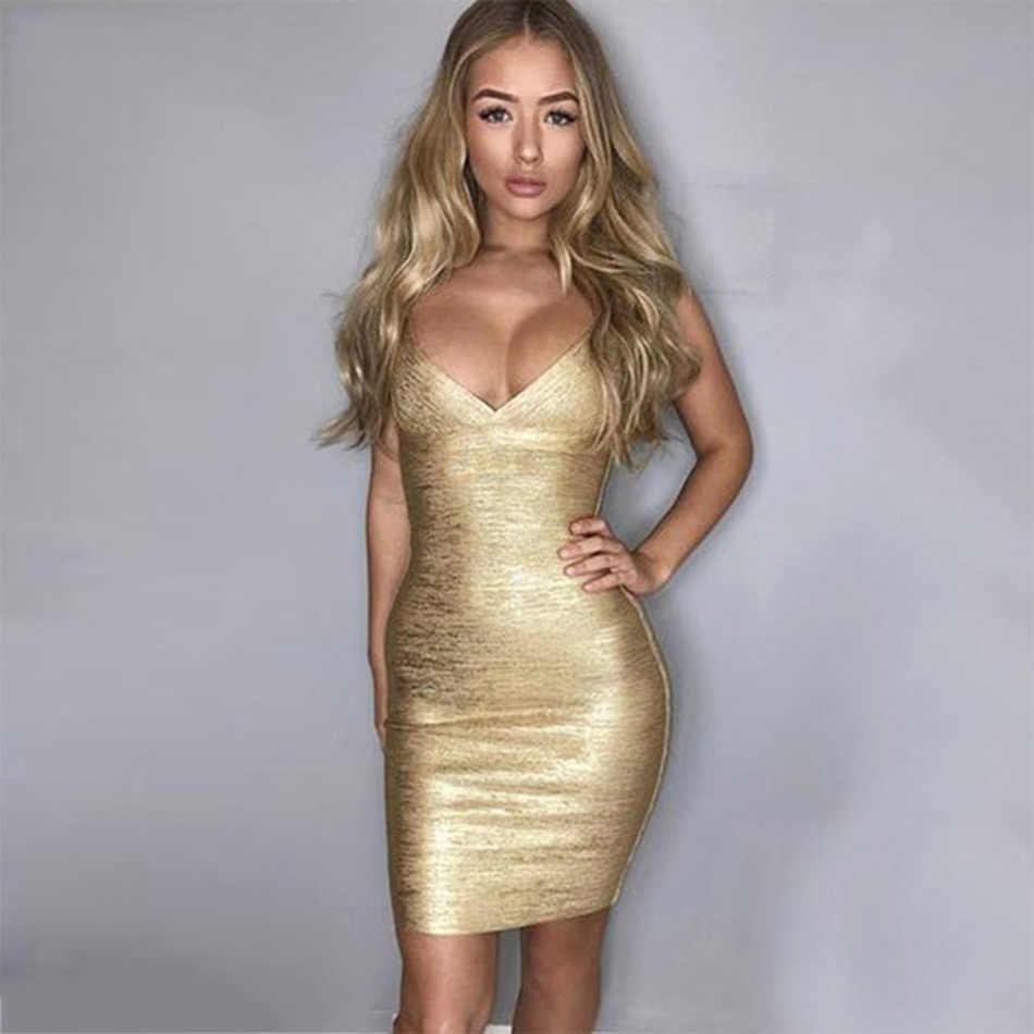 b9dd3fb4555 ... Seamyla Luxury Evening Party Women Bandage Dress 2019 Sexy Sleeveless  Gold Foil Print Bodycon Dresses Mini ...