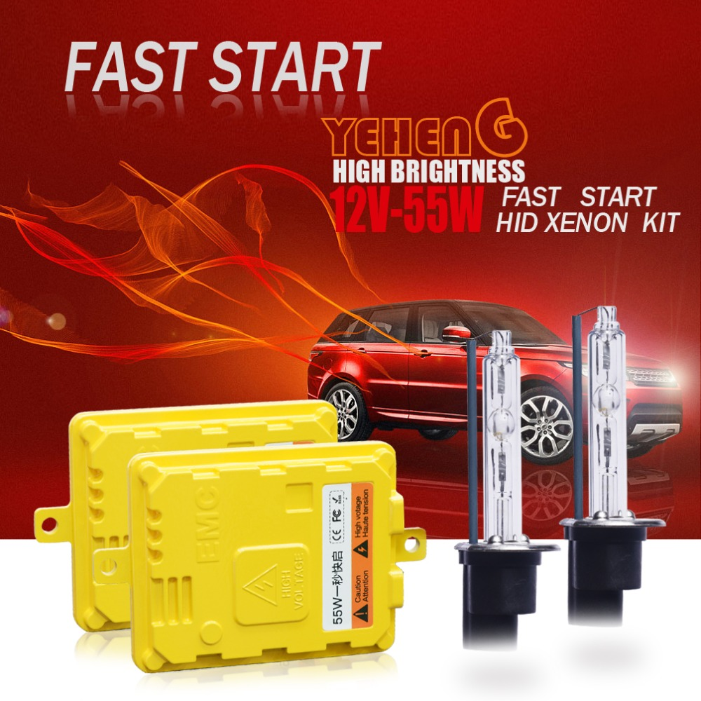 1 set <font><b>H7</b></font> HID Xenon kit 55W for car headlight H1 H3 H4 H8 H9 H11 9005 HB3 9006 HB4 881 H27 lamp 5500K HID Xenon bulb image