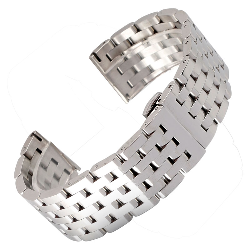 20/22mm Silver Solid Stainless Steel Replacement Fashion Bracelet Adjustable Watch Band Wrist Strap Metal High Quality Luxury luxury fashion male stainless steel 20mm strap watch accessories solid watch silver steel bracelet clock watch accessories
