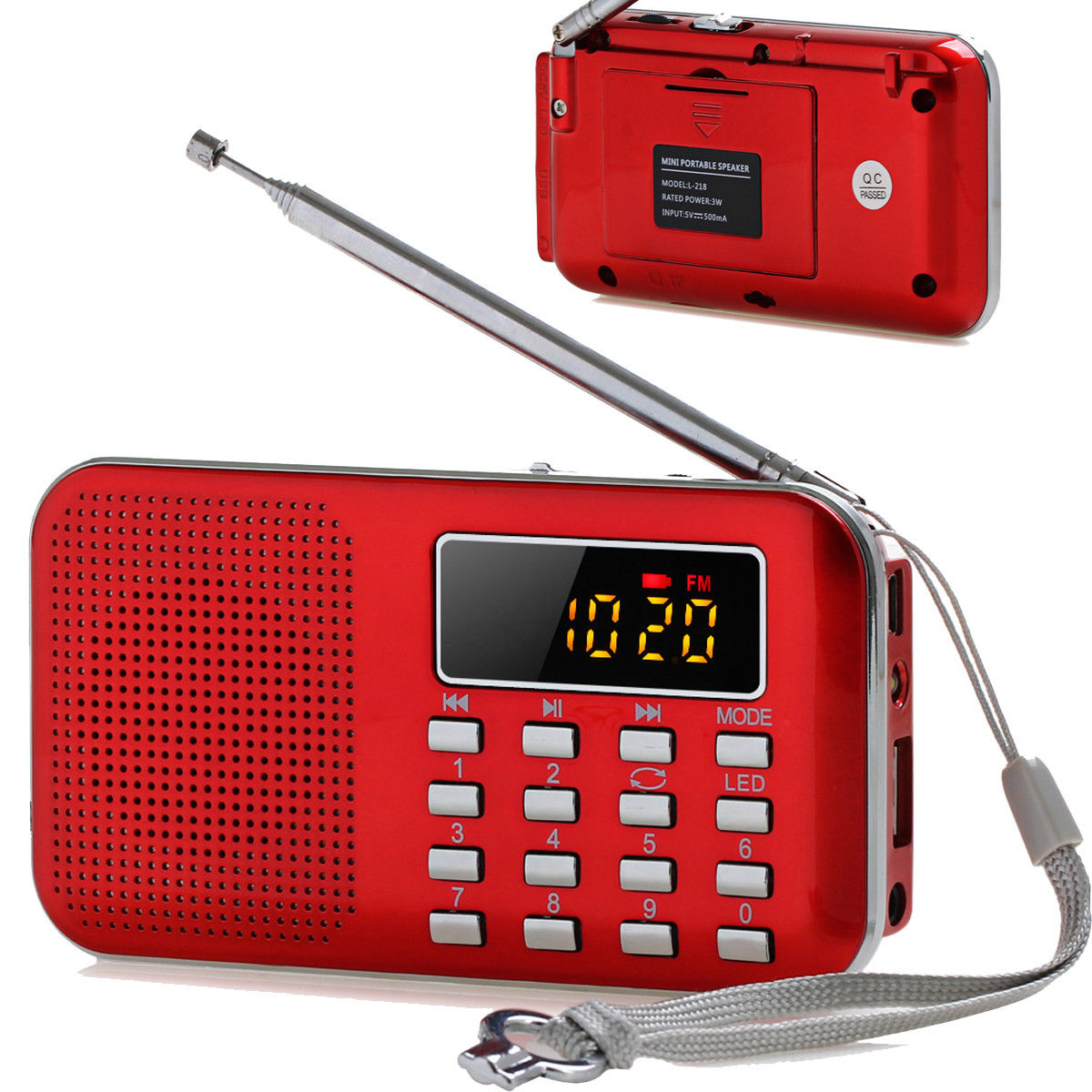 Slim Digital FM AM Radio Band World Speaker LCD Supper Bass AUX USB TF LED Light