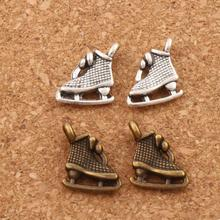 27pcs Antique Silver/Bronze Ice Skating Grid Shoes Charm Beads Pendants Jewelry DIY L568