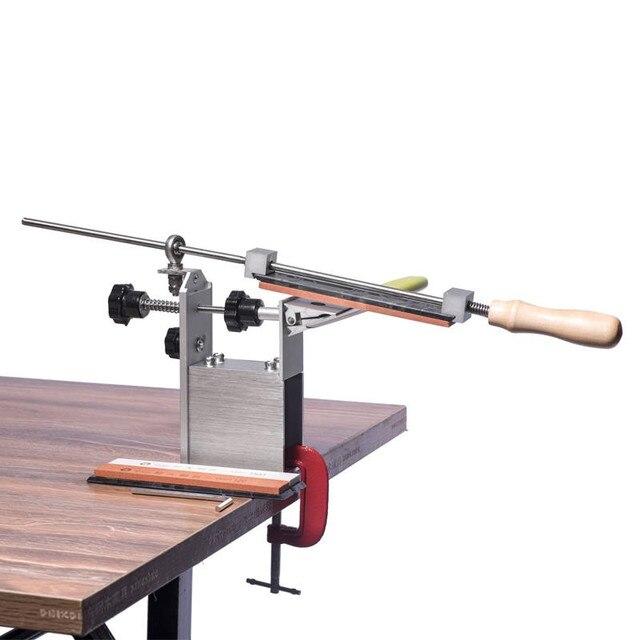 НОВЕЙШАЯ портативная система для заточки ножей KME с вращением на 360 градусов, 3 точильных камня (120 #,600 #,1500 #)