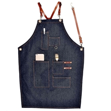 New Aprons Denim Leather Simple Uniform Unisex Adult Jeans Aprons For Woman Men Male Lady'S Kitchen Barber Cooking Pinafores