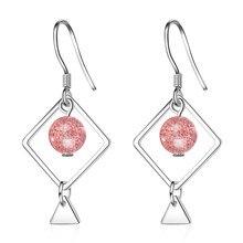 XIYANIKE 925 de plata esterlina Simple cuadrado de fresa pendiente de cristal para las mujeres de regalo de la joyería de la boda, nuevo plata ornamento VES7188