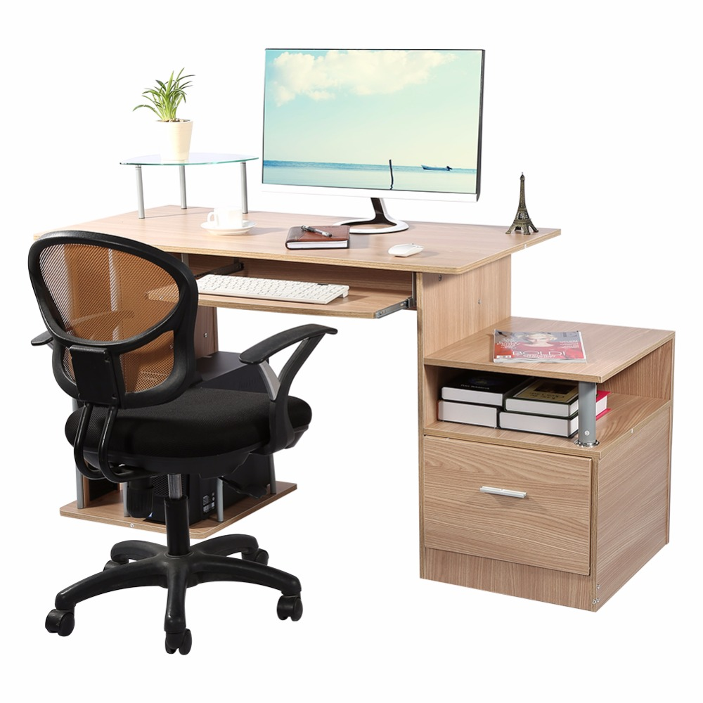TV Computer Modern Home Office desk table office workstation study writing PC furniture drawers With Storage Rack