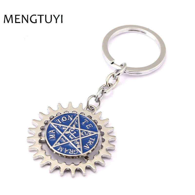 J store Anime Black Butler Keychain Pentagram Logo Ciel Sebastian Deed Round Alloy Key Ring porte clef Chaveiro