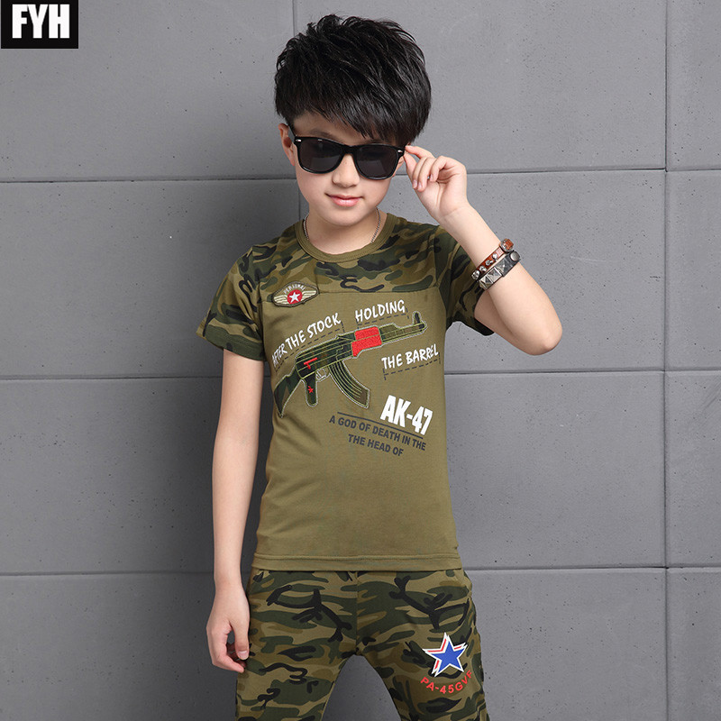 FYH New 2018 Boys Summer Clothes Sets Kids Cotton T-shirt+Pants 2Pcs Clothing Sets Boys Short Sleeved Summer Camouflage Costume