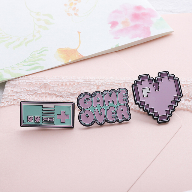 US $1 24 40% OFF|Pink Pixel Heart Game machine Game Over ! Enamel Pins  Fashion Denim jackets backpack Pin button Brooch for Women Men Jewelry-in