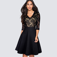 New Spring Autumn Vintage Stylish Floral Lace Patchwork Black Party Dress Women Casual Work Office Swing